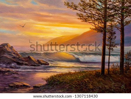 Pines on the coast of the Pacific Ocean. Oil painting.