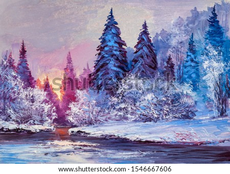 Winter landscape with the river. Original oil painting. Colorful  forest