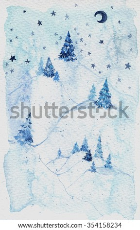 Watercolor blue forest