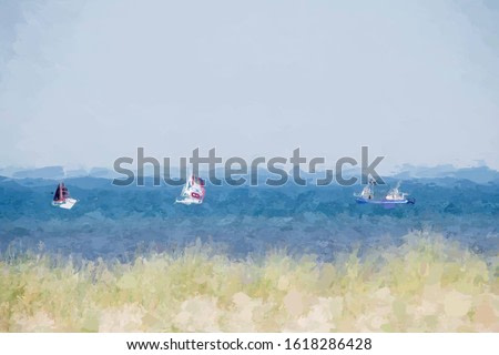 Illustration image of boats sailing on the sea in summer converted to oil painting picture style, Watercolor painting of beautiful nature landscape background.
