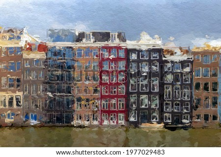 Illustration picture of Amsterdam architecture features traditional canal houses converted to oil painting picture style, Watercolour painting of typical dutch house background, Damrak, Netherlands.
