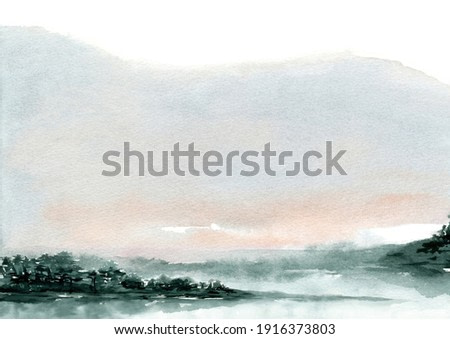 Mountain, lake and tree watercolor landscape painting with blank space abstract background with paper textured hand drawn and painted