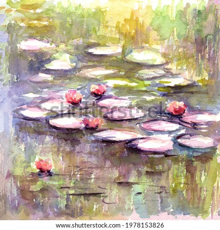 Water lily in garden pond landscape watercolor painting hand painted on paper