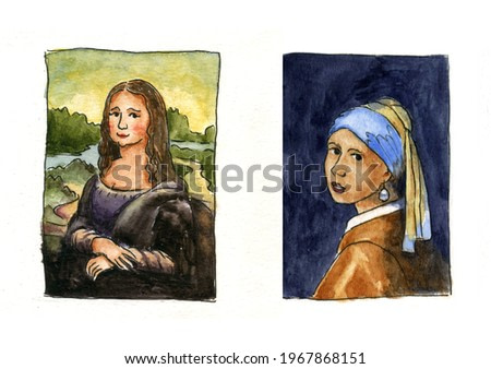 Cartoon watercolor painting two famous pictures of women