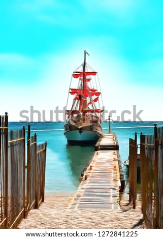 Digital painting. Drawing watercolor. Seascape, sea, pleasure ship. Sailing yacht stands at the pier.