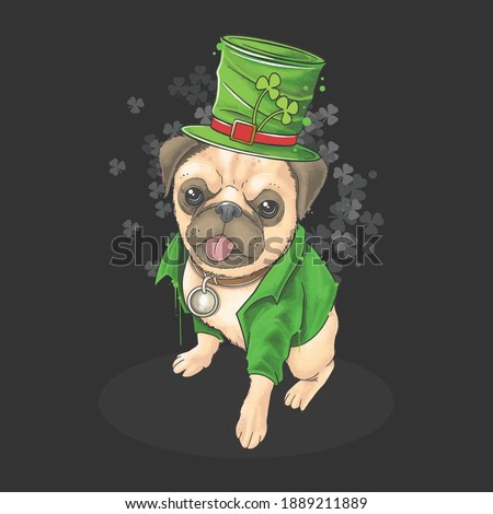 St. Patrick's day the pug wears a cute hat and suit. This artwork uses a watercolor style with editable layers vector