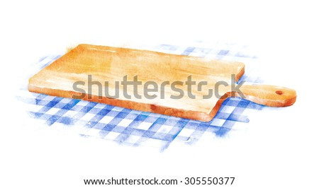 Watercolor hand drawn illustration of kitchen cutting board on blue checkered tablecloth.