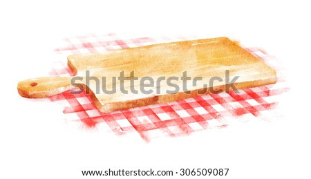 Watercolor hand drawn illustration of kitchen cutting board on red checkered tablecloth.