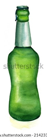 A bottle of beer on white background
