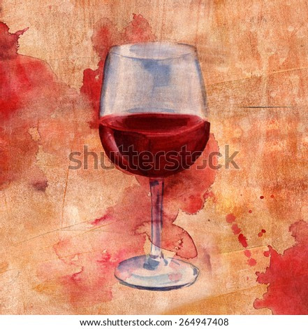 Watercolor red wine collage on a distressed artistic background