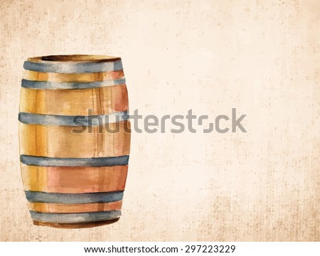 A watercolor drawing of a barrel on old brown paper with a place for text, scalable vector graphic