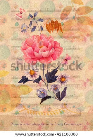 Vintage style greeting card with hand painted watercolor bouquet of peony, daisies, and violets, cutout butterflies, camellia silhouettes on aged sheet music, with text about the flower on torn paper
