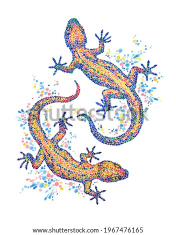 Hand drawn illustration, decorative watercolor painting, two lizard gecko on white.