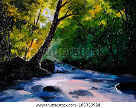 Painting, picture oil painting on a canvas. Landscape, mountain river, abstract drawing, watercolor painting