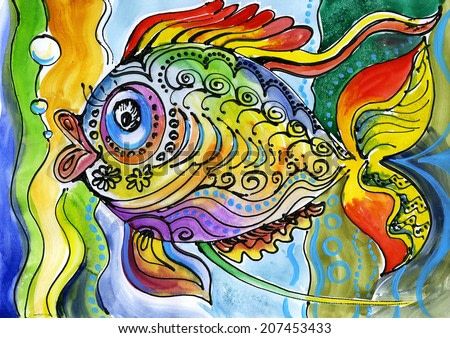 watercolor painting of fish