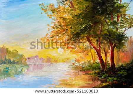 Oil painting landscape, river in the spring forest with sunset, afternoon