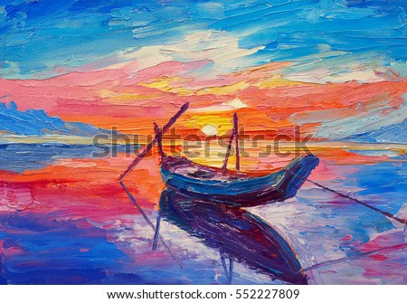 Oil painting, artwork on canvas. Fishing boats on sea