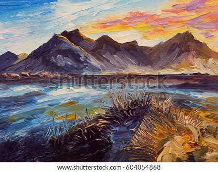 Oil painting, pink sunset, sea, mountains
