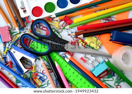 Scissors and other stationery, background
