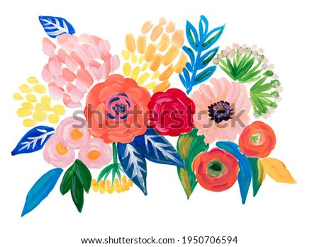 Hand drawn painted bouquet of  flowers and leaves. Acrylic paint. Isolated on white background. Poster, illustration.