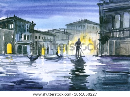 Gondolier sails on a boat at night in venice. Watercolor painting