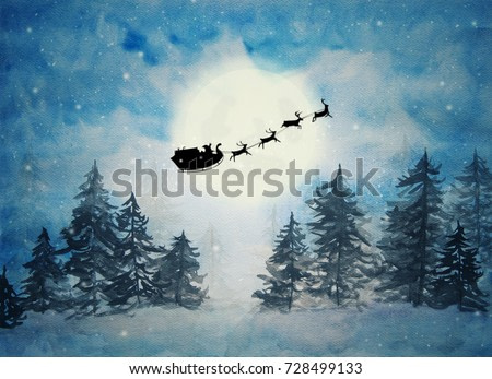 Santa claus with sleigh and reindeer silhouette on a big full moon in the pine forest with starry night and snow background in watercolor painting, design for fantastic happy Christmas holiday