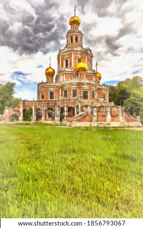 Beautiful russian ancient cathedral colorful painting looks like picture