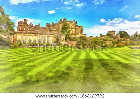 View on Culzean castle colorful painting looks like picture, Scotland, UK.