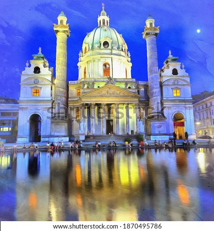 View of St. Charles's Church colorful painting looks like picture, Vienna, Austria.