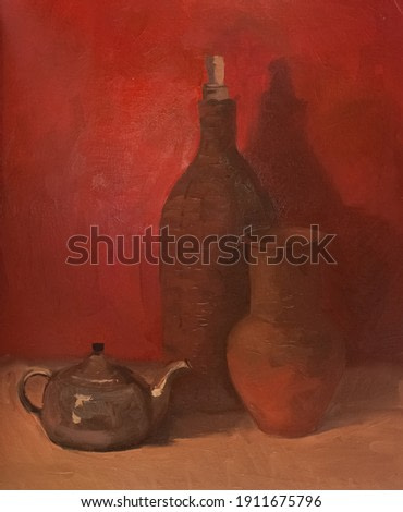 Oil painting still life with the bottle. Original painting on canvas. Handmade artwork in red colors