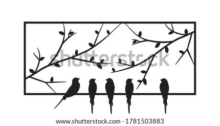 Birds standing on frame of a window, vector. Birds silhouettes on wire isolated on white background. Black and white wall decals, art design, wall artwork. Metal art decor