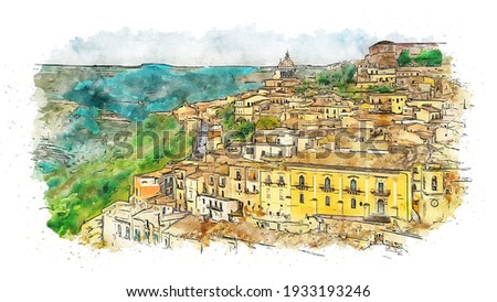 Panoramic view of Ragusa Ibla, home to a wide array of Baroque architecture, including several stunning palaces and churches, Sicily, Italy, watercolor sketch illustration.
