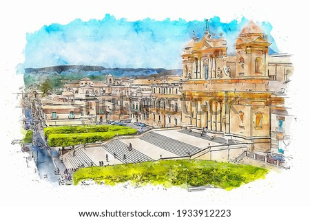 Noto Cathedral, imposing baroque cathedral in Sicily, Italy, watercolor sketch illustration.