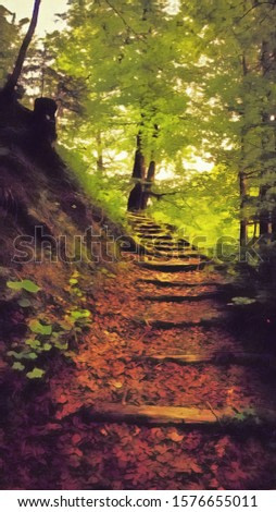 illustration - oil painting - staircase in the forest
