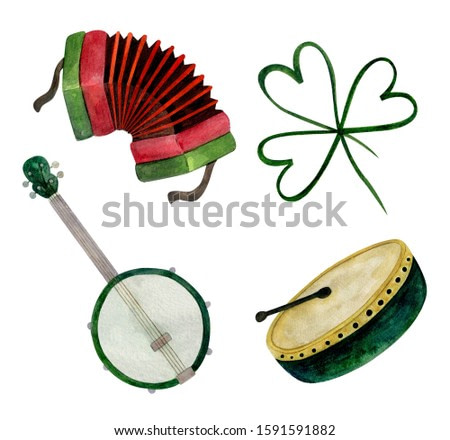 Irish folk musical instrument. Hand-drawn watercolor stock illustration. Bright watercolor hand-drawn illustration. Isolated on the white background.