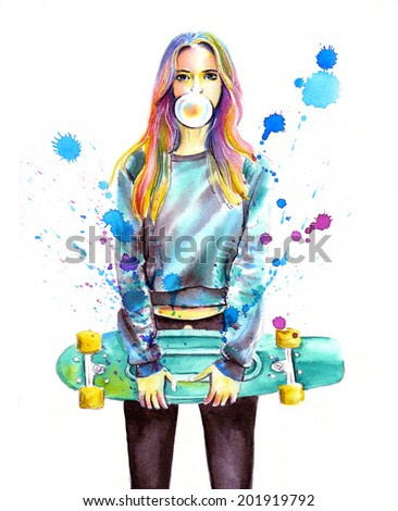 The watercolor girl with the skateboard