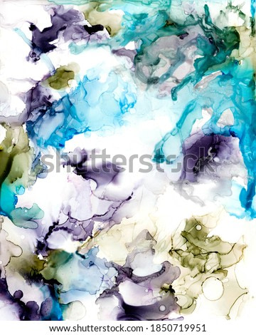 Ink, paint, abstract. Closeup of the painting. Colorful abstract painting background. Alcohol ink modern abstract painting, modern contemporary art.