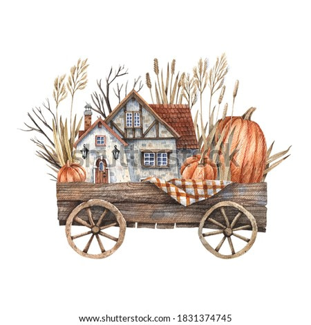 Watercolor illustration of a wooden cart with pumpkins, dry herbs, branches and a farmhouse with a tiled roof. Illustration isolated on white background in vintage style.