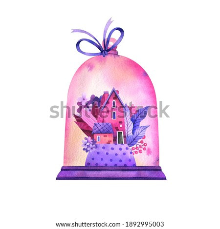 Watercolor illustration of a cute fairy house in flowers. Hand-drawn magical house and garden in pink and lilac shades. Illustration for wedding decor, valentine's day, children's books, postcards.