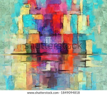 Colorful abstract oil painting. Vibrant rectangles, artwork in contemporary style. Textured brush strokes, modern art on teal background with red, orange and other accents