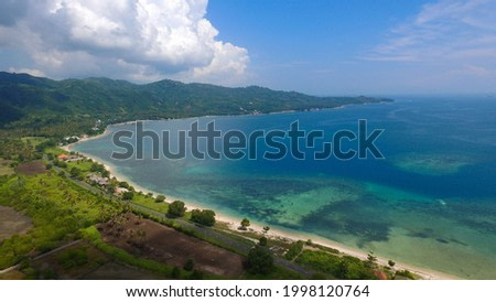 Sekotong beach west lombok aerial view