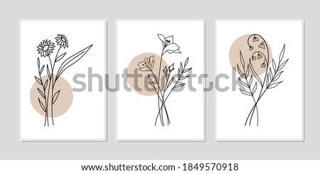 Gallery wall art set of 3 printable minimalist print. Wall art for bedroom, Living room and office décor. Hand draw vector design elements.