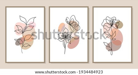 Gallery wall art set of 3 printable minimalist print. Wall art for bedroom, Living room and office decor. Hand draw vector design elements. Vector EPS10.