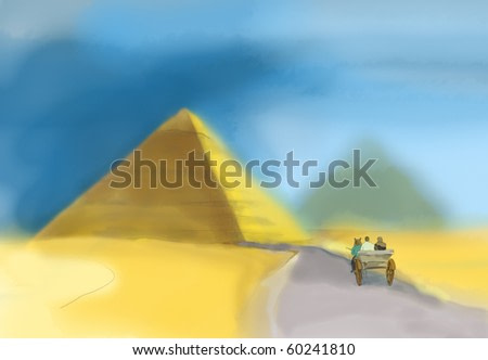 Watercolor of a pyramid in Giza, the only one of the Seven Wonders of Ancient world