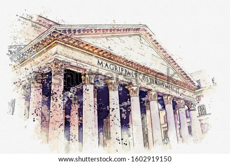 watercolor drawing picture of Pantheon famous landmark at Rome Italy.