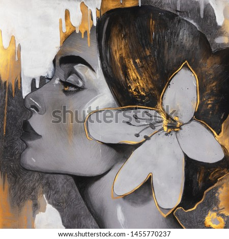 Acrylic and oil painting on canvas , fantasy woman portrait