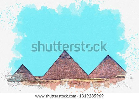 Watercolor sketch or illustration of a beautiful view of the ancient Egyptian pyramids.