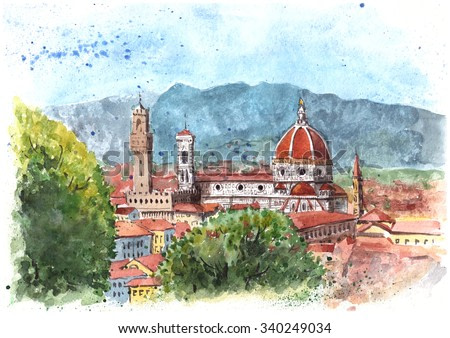 Watercolor painting of Florence, Italy. Cathedral Santa Maria del Fiore, mounting view.