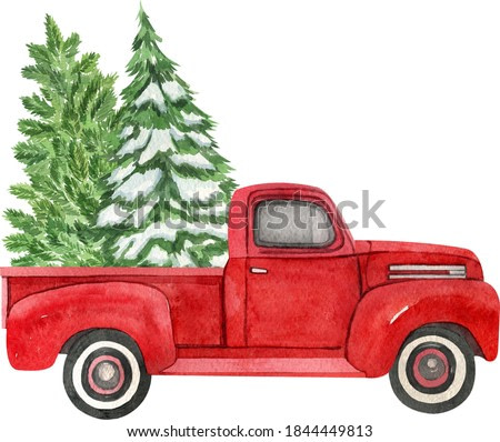Christmas red retro truck with Christmas tree. Watercolor holiday illustration. Perfect for your Christmas and New Year project, invitations, greeting cards, wallpapers
