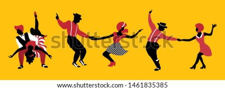 Group of people dancing  lindy hop or boogie woogie. Set of three couples in 1940s or 1950s style performing swing. Vector illustration in yellow, red and black colors.